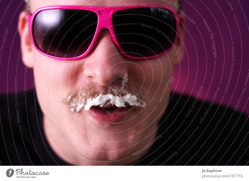 Man Joy Adults Eating Style Pink Crazy Cool (slang) Retro Portrait photograph Trashy Sunglasses Grinning Eyeglasses Foam Milk
