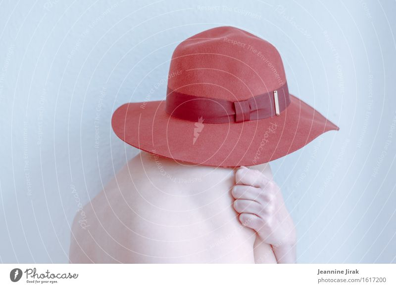 Human being Naked Colour Hand Red Loneliness Cold Sadness Feminine Fashion Elegant Esthetic Skin Back Uniqueness Threat