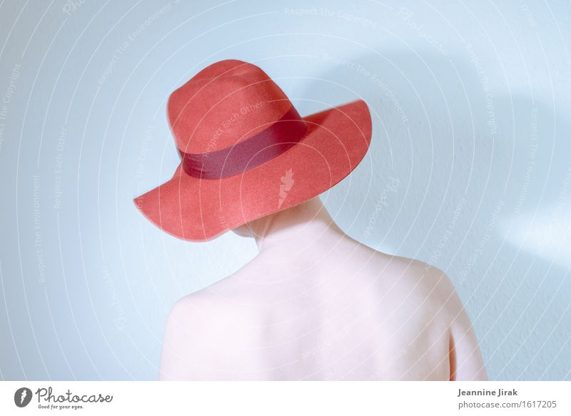 Human being Naked Beautiful Eroticism Red Loneliness Calm Sadness Feminine Style Head Elegant Body Esthetic Stand Skin