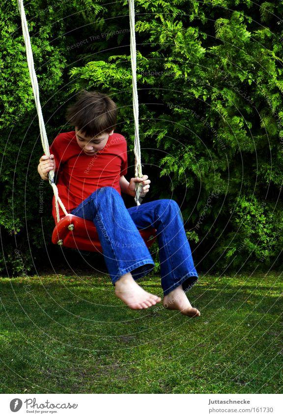 Child Joy Boy (child) Playing Garden Freedom Happy Infancy Swing Playground Recklessness To swing Weightlessness
