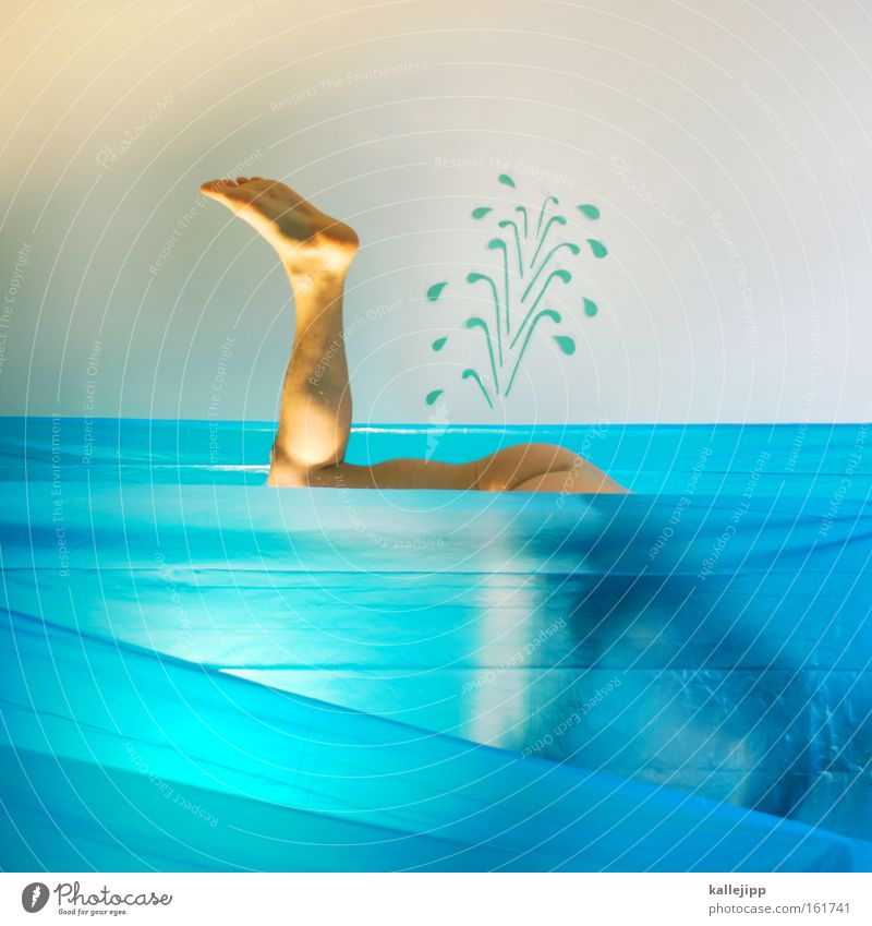 Human being Water Naked Legs Waves Swimming & Bathing Search Bottom Hind quarters Dive Comic Water wings Aquatics Fin Water fountain