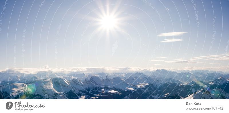 Blue Beautiful White Sun Calm Winter Cold Mountain Lighting Snow Exceptional Freedom Bright Horizon Contentment Ice