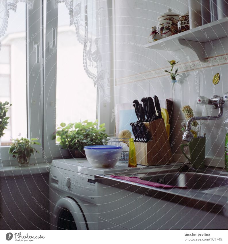Window Flat (apartment) Authentic Cooking & Baking Kitchen Furniture Square Household Knives Photos of everyday life Tap Do the dishes Kitchen sink Rinse