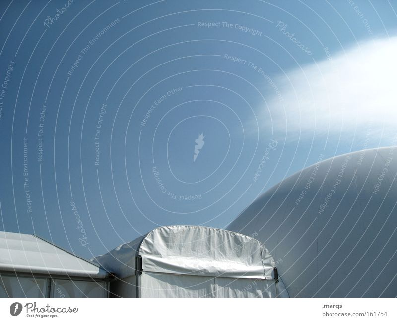 Sky White Blue Clouds Industry Modern Energy industry Round Roof Science & Research Sphere Trade fair Camping Exhibition Tent Music festival