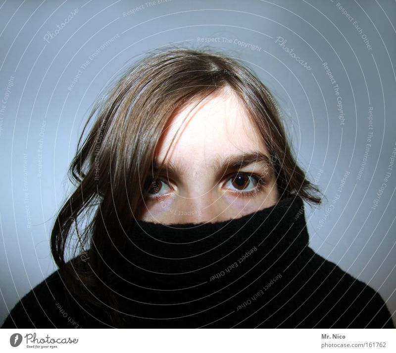 Youth (Young adults) Face Eyes Hair and hairstyles Head Clothing Hide Sweater Appearance Forehead Mask Roll-necked sweater Detail of face