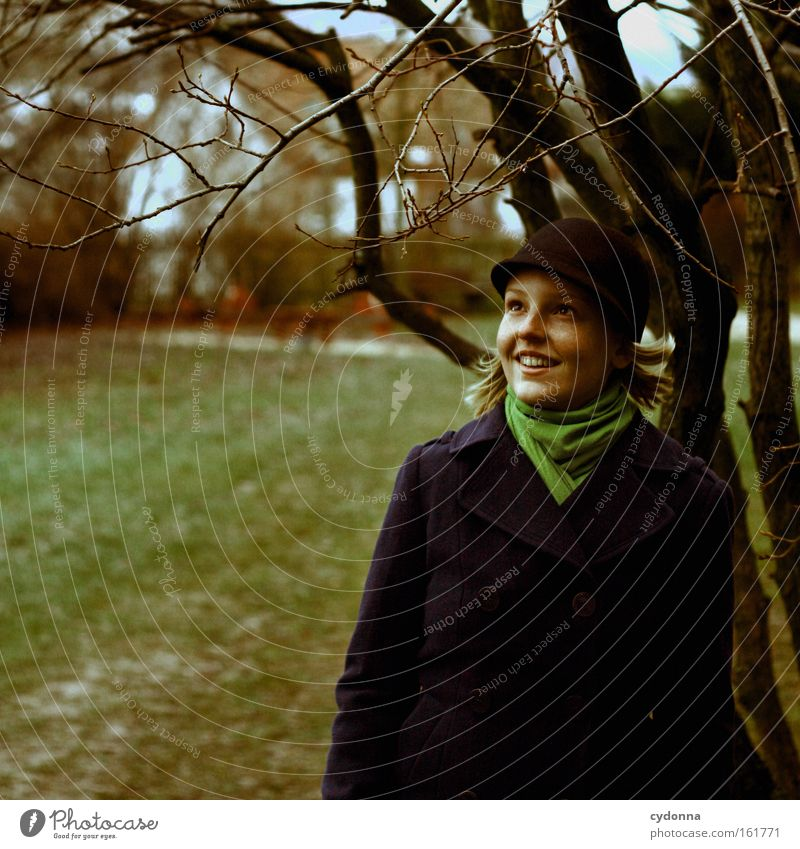 Waiting for the leaves to sprout Human being Woman To go for a walk Tree Nature Seasons Expectation Optimism Curiosity Twig Fashion Meadow Living or residing