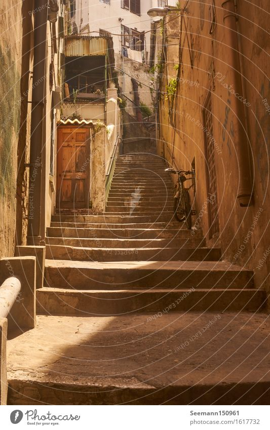 Stairs with bicycle Vacation & Travel Adventure Far-off places City trip Cycling tour Gibraltar Great Britain Europe Capital city Port City Old town Deserted