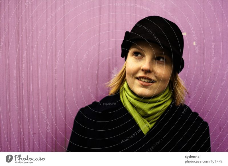 woman with hat Human being Woman Hope Hat Future Beautiful Expectation Optimism Curiosity Scarf Fashion Wall (building) Pink Life Emotions Contentment