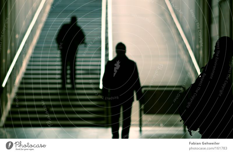Human being Going Stairs Underground Train station Shadow Phenomenon Subsoil Cross Offset