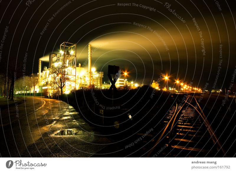 two ways to go Exhaust gas Share Damp Railroad tracks Wet Smoke Night Dark Water Light Junction Industry Chemistry Street