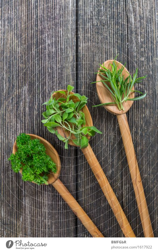 3 spoons with medicine Food Herbs and spices Rosemary Parsley Marjoram Nutrition Organic produce Vegetarian diet Diet Slow food Spoon Healthy Healthy Eating