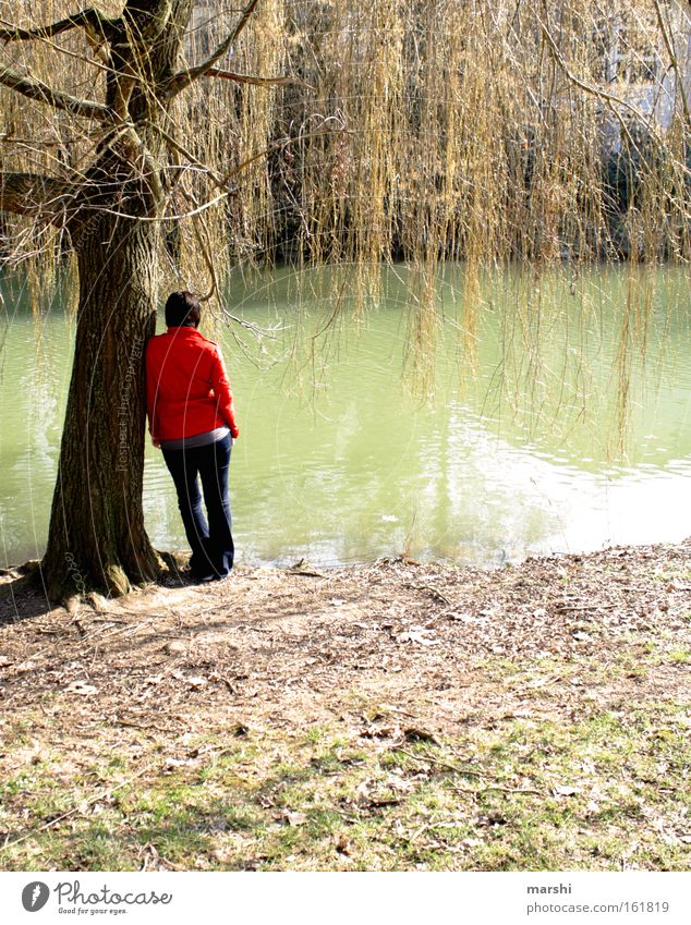 Woman Human being Nature Water Plant Red Animal Adults Far-off places Relaxation Meadow Emotions Coast Sadness Think Spring