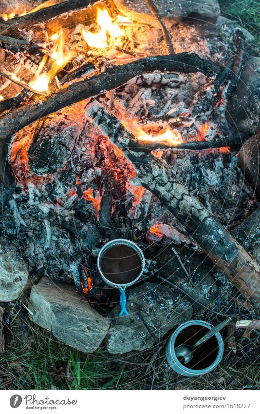 Making coffee on campfire Nature Vacation & Travel Old Summer Forest Black Natural Metal Cooking & Baking Adventure Coffee Hot Steel Tea Make Camping