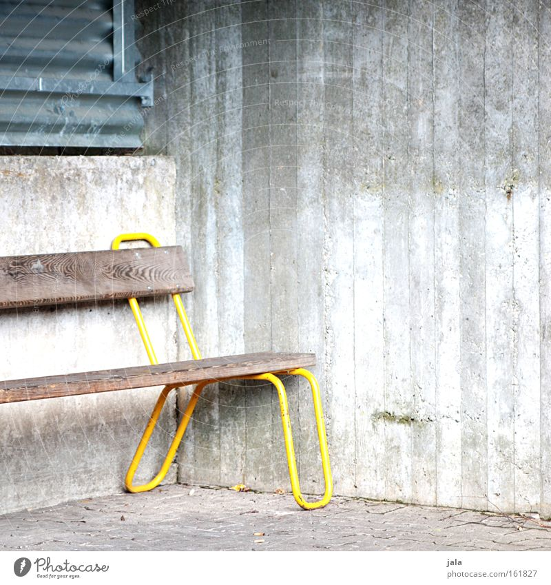corner bench Bench Concrete Bus stop Wood Yellow Gray Wait Seating Places Train station Traffic infrastructure