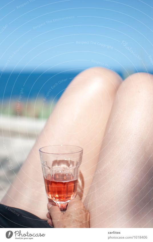 Could be worse ... Female senior 60+ Woman Legs Wine Glass Alcoholic drinks Mediterranean sea Skin Naked Female nude Shallow depth of field Blur Horizon Terrace