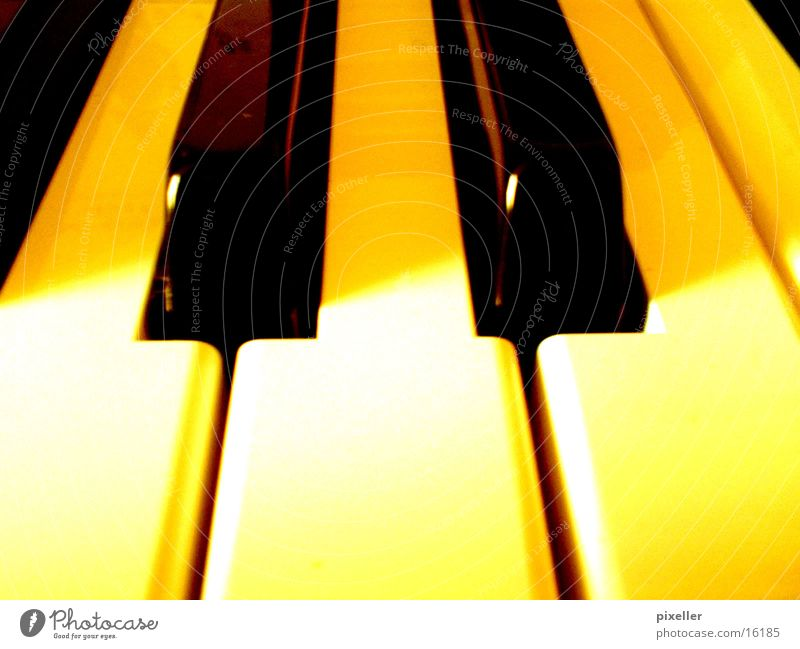 piano Piano Yellow Black Leisure and hobbies Touch Music Musical notes