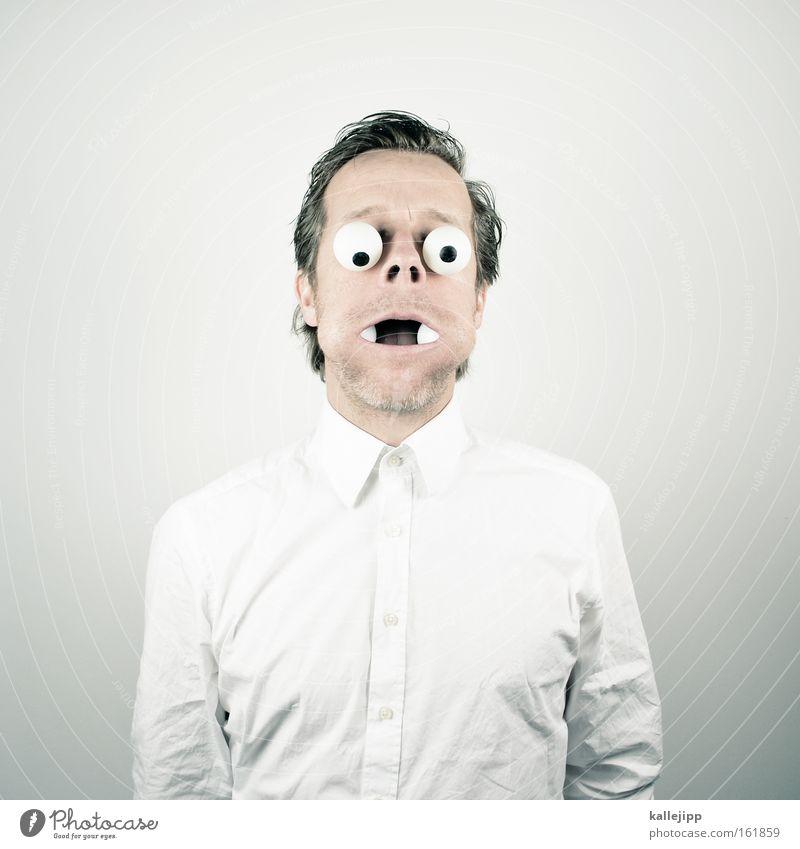 fill one's mouth too full Eyes Human being Comic Shirt White Cheek Goggle eyes Shock Man Pupil Eyewitness Looking cartoon Opthalmology