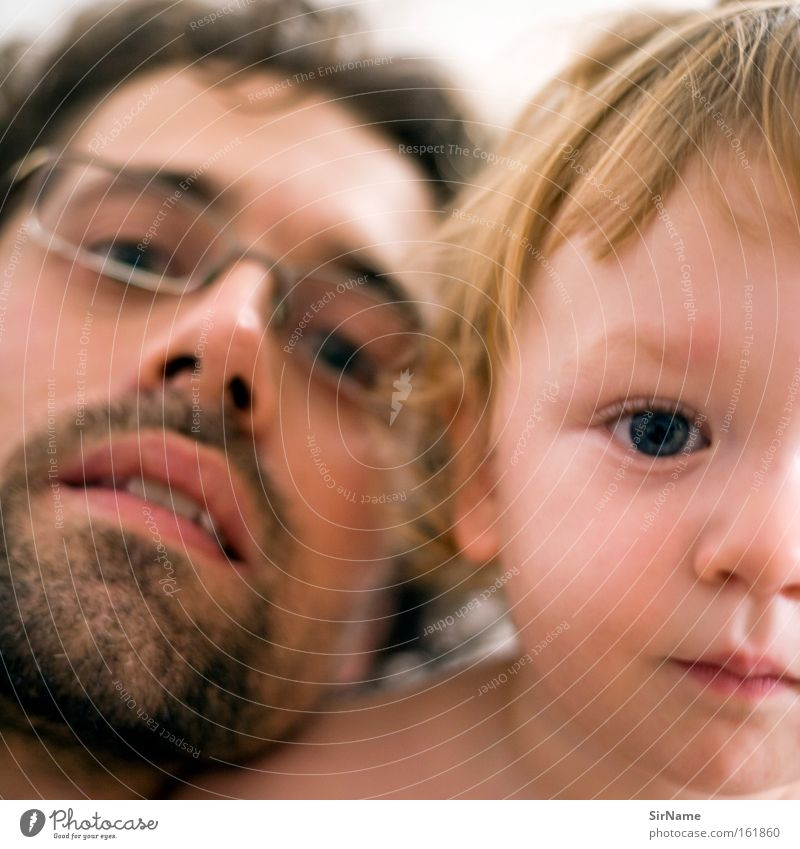 74 [father and son] Skin Child Baby Toddler Boy (child) Man Adults Eyes Love Near Trust Related Intimacy Paternal instinct Father and son Colour photo Day