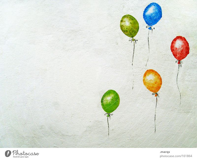 Joy Colour photo Multicoloured Exterior shot Deserted Copy Space left Happy Party Feasts & Celebrations Birthday Balloon Stone Sign Graffiti Happiness