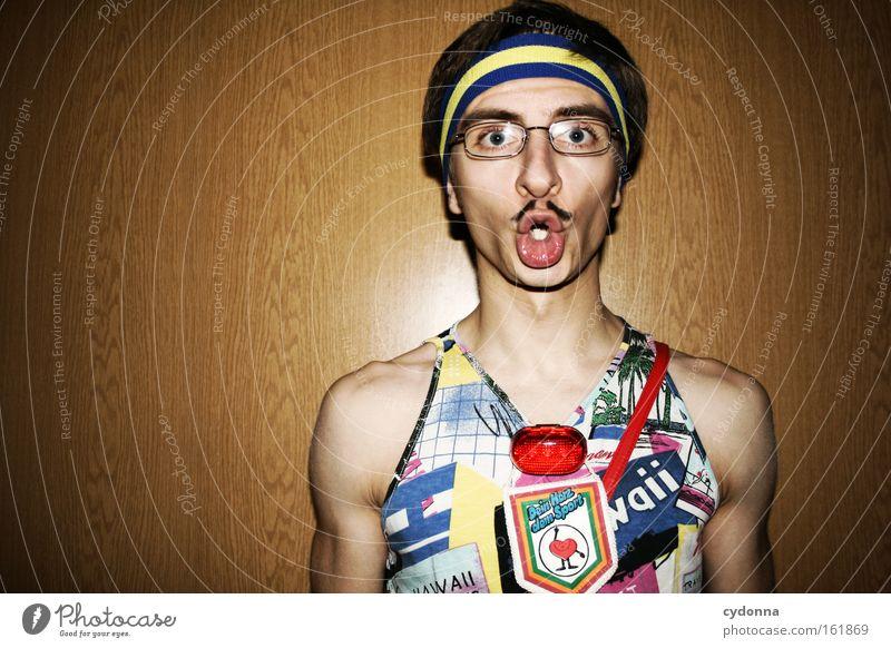 All right? Trashy Fashion Sense of taste Attractive Beautiful Man Human being Moustache Carnival Headband Brave Self-confident Humor Joy Club bathroom button