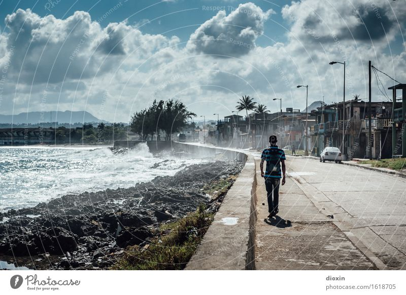 Human being Nature Vacation & Travel Youth (Young adults) Ocean Young man Clouds Far-off places Environment Street Coast Masculine Tourism Weather Waves Wind