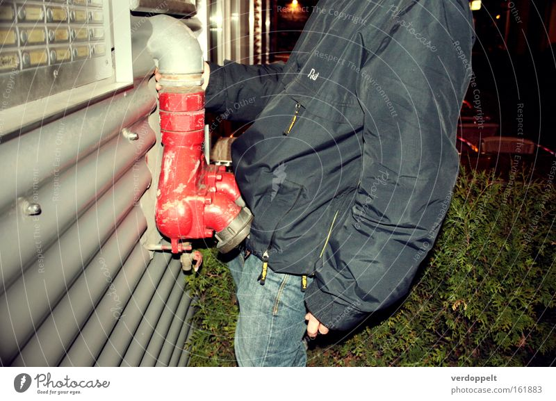 0_2 Human being Man Red Colour Pipe Hose Night sky Parts of body