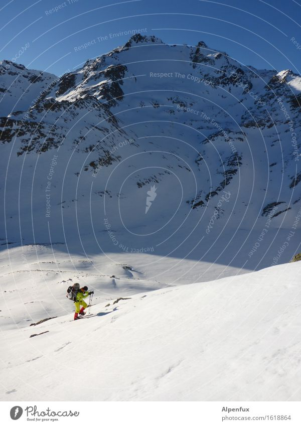 snowshoe hikers Climbing Mountaineering Winter Beautiful weather Ice Frost Snow Rock Alps Austria Peak Snowcapped peak Glacier Fight Hiking Bright White Power