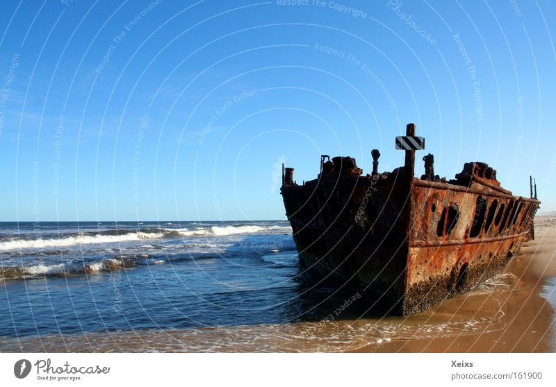 ghost ship Beach Ocean Waves Nature Sand Water Sky Summer Coast Watercraft Rust Crucifix Wreck Australia Colour photo Multicoloured Exterior shot Deserted