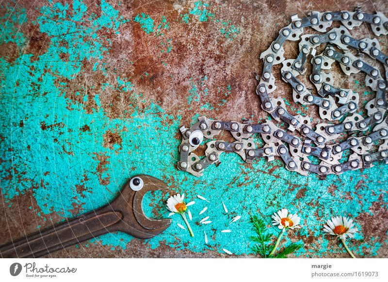 Hey, this is mine ...... A wrench and a chainsaw with eyes picking up daisies Craftsperson Gardening Workplace Construction site Services Advertising Industry