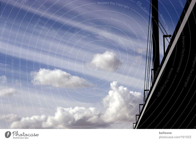 Sky White Blue Black Clouds Bridge River Brook Duesseldorf Rhine Traverse Skyward