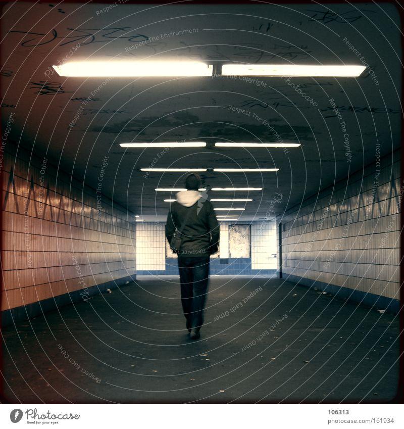 Man City Going Walking Industry End Tile Tunnel Underground Tourist Guy Subsoil London Underground Underpass