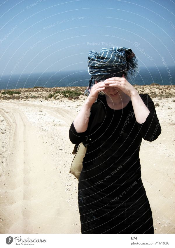 Imesouane Warmth Hot Protection Shadow Thirst Vacation & Travel Travel photography Africa Morocco Headscarf Headwear Scarf Turban Sand Summer Beach Coast Blaze
