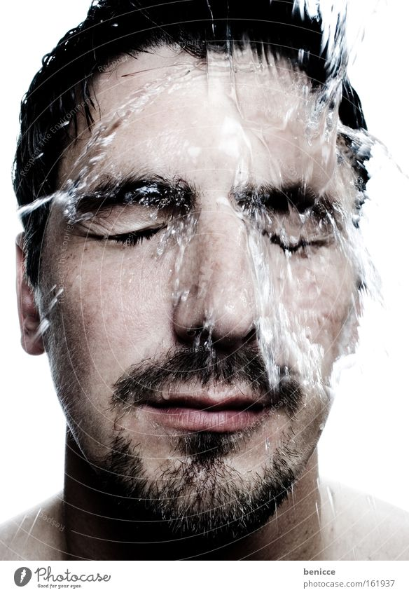 Wake up!!! Man Water Face Portrait photograph Fresh Cold Human being Wet refresh Take a shower