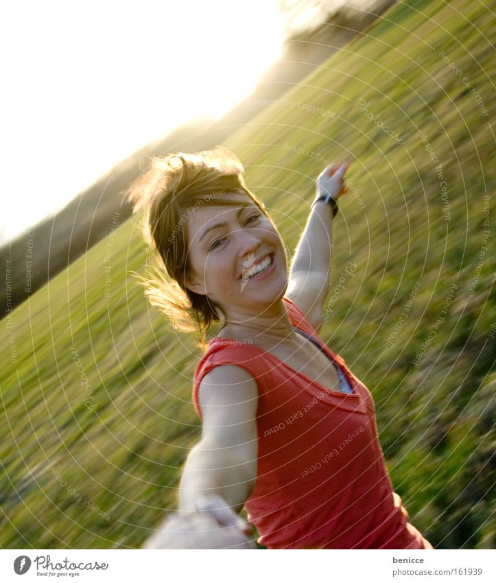 Woman Human being Summer Joy Movement Wind Rotate Nature Giddy