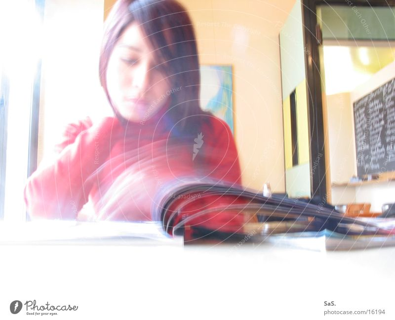 flow of information Magazine Long exposure Café Information Media Reading Feminine Woman Newspaper To leaf (through a book) Dynamics browse