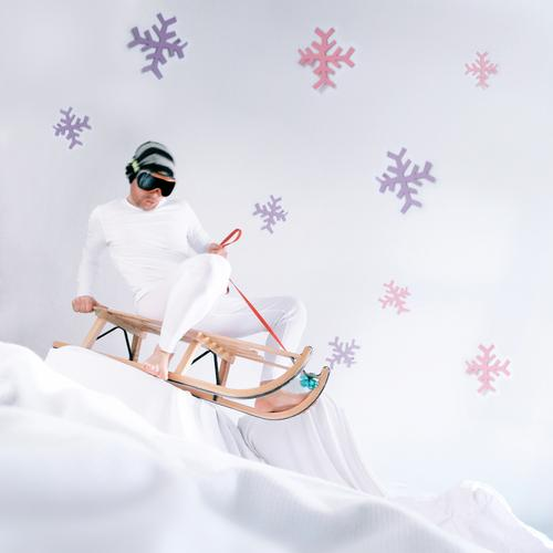 winter's tale Sleigh Winter Downward slide Mountain Snowflake Ice Ice crystal Heap Joy White Set Stage play Christmas & Advent Winter sports slide tour
