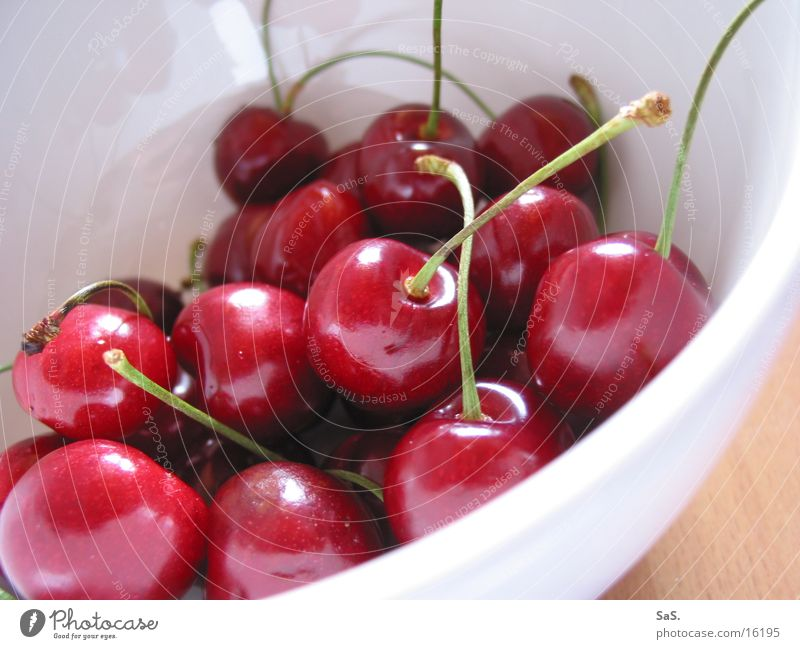 eat cherries well Cherry Red Crunchy Fruity Stalk Delicious Round Macro (Extreme close-up) Close-up Harvest Vegetarian diet Bowl Nutrition