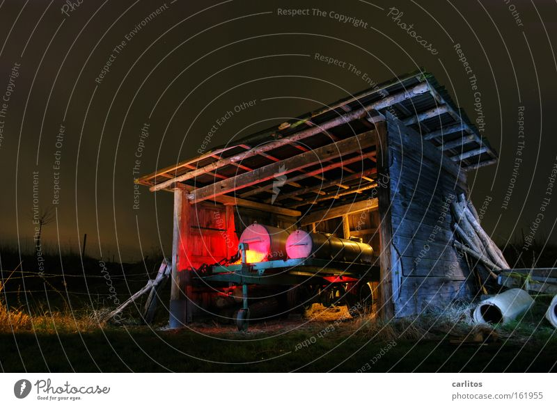 www.gülle-disco24.com Night Dark Light Red Long exposure Agriculture Radioactivity Radiation Derelict Light painting Colour farmer's disco Followers Barn