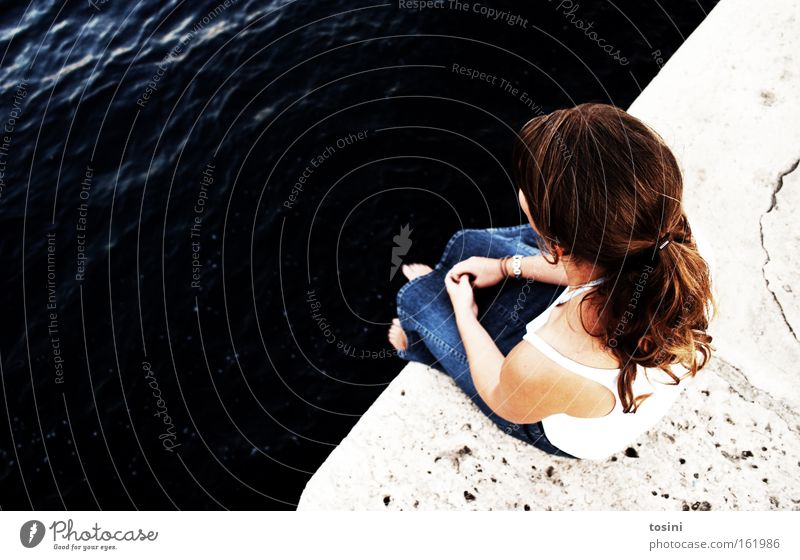 Woman Water Ocean Summer Calm Stone Lake Think Contentment Sit Break Vantage point Meditative Thought
