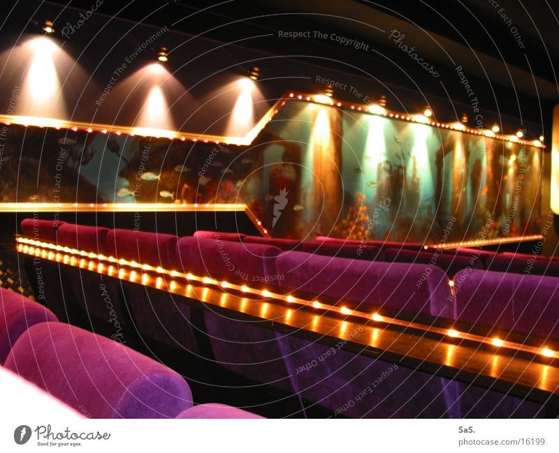 Red Black Lamp Dark Moody Room Art Empty Film industry Leisure and hobbies Culture Theatre Cinema Armchair Row of seats Going out