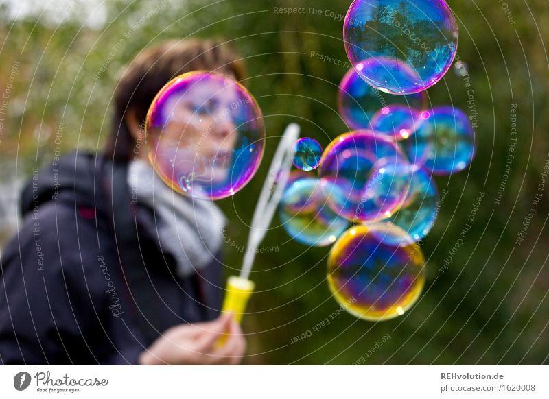 soap bubbles Human being Feminine Woman Adults 1 30 - 45 years Environment Nature Multicoloured Joy Happy Happiness Contentment Joie de vivre (Vitality)