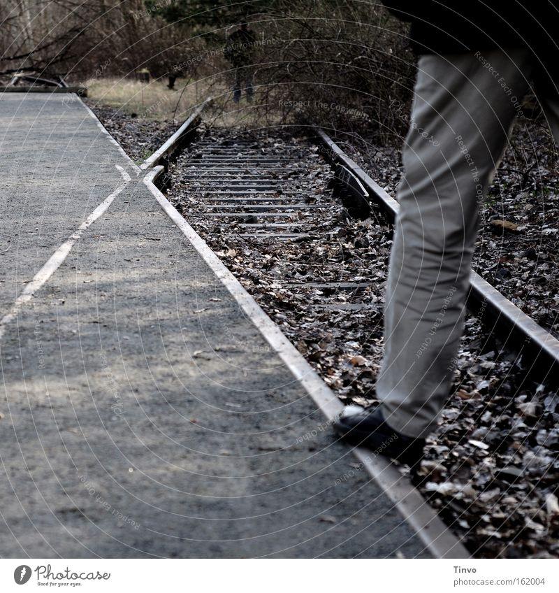 Autumn Legs Railroad Railroad tracks Derelict Sidewalk Balance Encounter Switch Z Junction Shut down