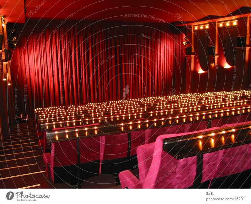 Red Black Lamp Dark Room Art Empty Film industry Leisure and hobbies Culture Theatre Stage Cinema Drape Armchair Row of seats