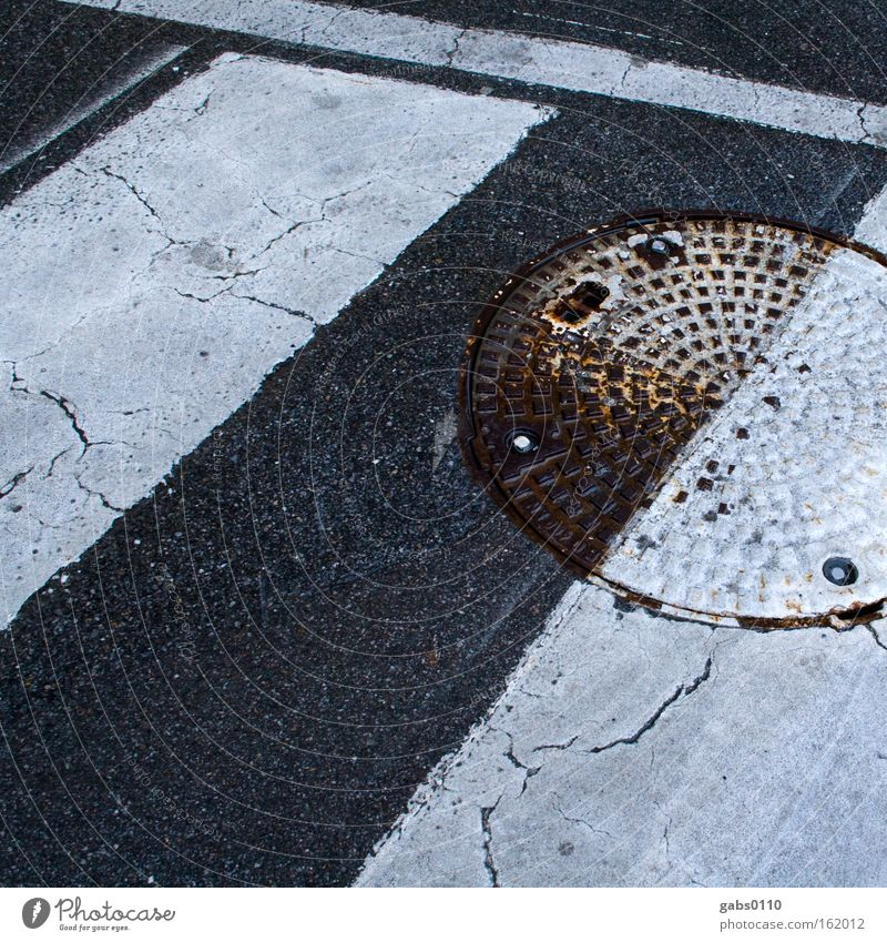 Street Wet Stripe Half Pedestrian Channel Gully Intersection Subsoil Zebra crossing Street sign Yin and Yang Taoism