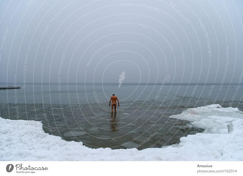 Man Water Ocean Winter Cold Snow Naked Senior citizen Ice Healthy Swimming & Bathing Baltic Sea Freeze Human being Harden Ice bathing