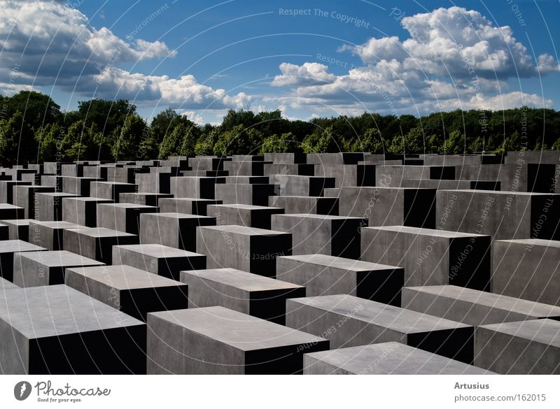 Jewish Monument Berlin Looking Think Remember Mass murder Holocaust memorial Judaism Break Stone Traffic infrastructure Moral cubes Cloud formation