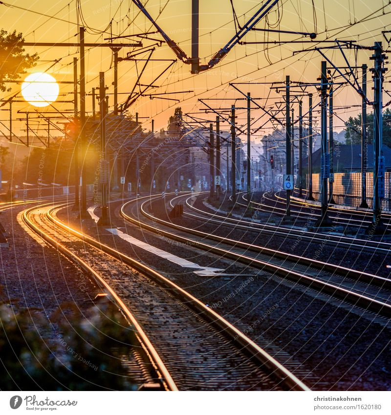 Wanderlust - Sunset over the railway tracks Vacation & Travel Far-off places Train travel Logistics Technology Beautiful weather Cologne Train station