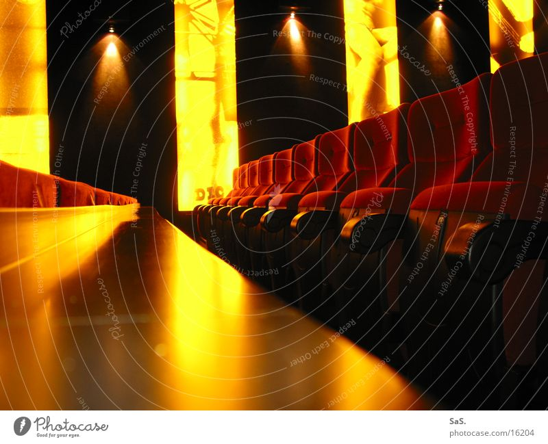 Dream Palace 6 Cinema Film industry Light Dark Red Yellow Black Armchair Movie theater seat Movie hall Going out Leisure and hobbies Wall of light Culture