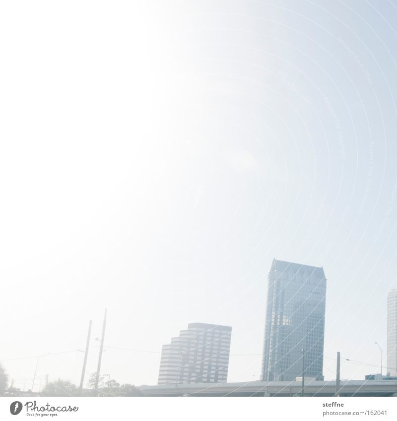 sunny day Tampa Florida USA Downtown High-rise Skyline Sun Bright Summer Silhouette
