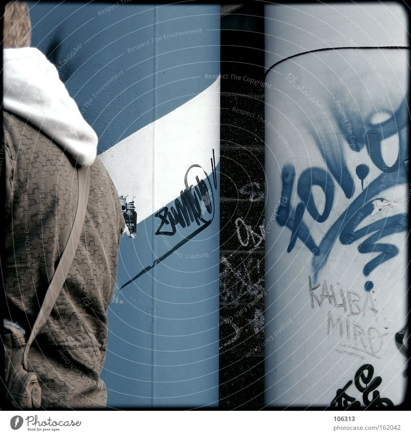 Man Blue City Graffiti Metal Dirty Clothing Industry Science & Research Guy Downtown Berlin